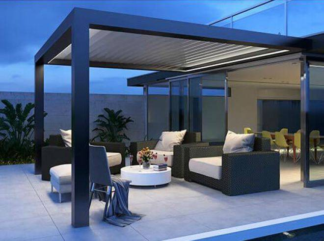 pergola bioclimatique avec clairage sur aix en provence ac structures. Black Bedroom Furniture Sets. Home Design Ideas